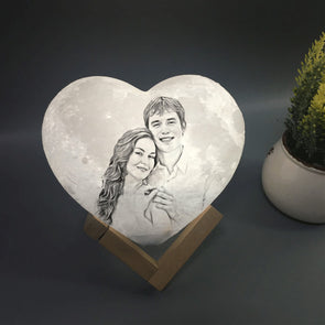 Custom Heart Shpaed Photo Moon Lamp Custom 3D Photo Engraved Moon Light 2 Colors