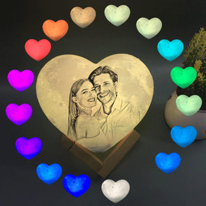Custom Moon Lamp Heart Shaped Custom 3D Photo Engraved Moon Light 16 Colors Valentine's Day Gift