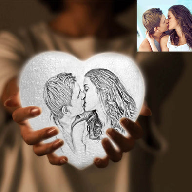 Custom Heart Shaped Moon Lamp with Picture 3D Photo Engraved Moon Light 2 Colors Best Gift Idea