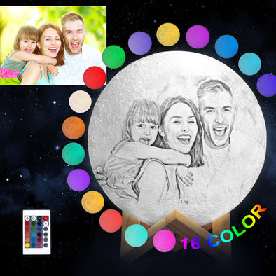 Custom Moon Lamp With Picture Custom 3D Photo Engraved Moon Light 16 Colors