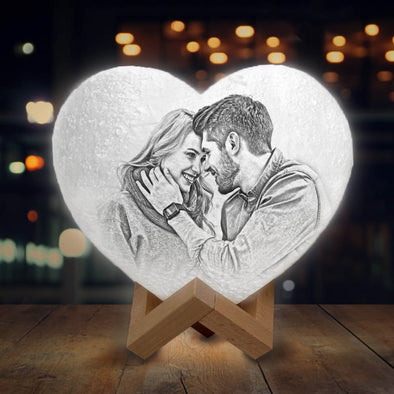 Custom Photo Moon Lamp Heart Shaped Custom 3D Photo Engraved Moon Light 2 Colors