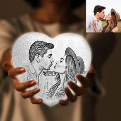 Custom Moon Lamp Heart Shaped with Picture 3D Photo Engraved Moon Light 2 Colors Mothers Day Gift