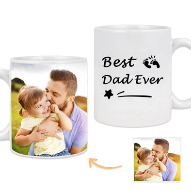 Custom Mug with Pictures on the Back Personalized Best Dad Photo Mug