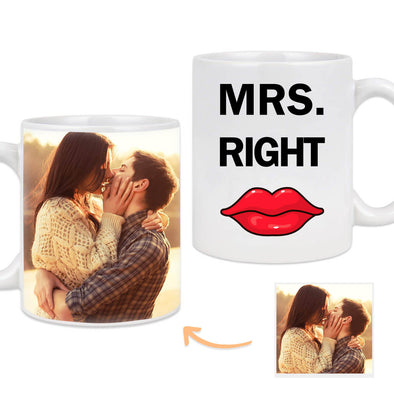 Custom Mug with Pictures on the Back Personalized Photo Mug Gift for Mrs Right