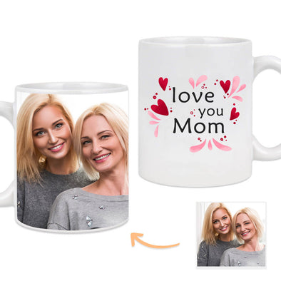 Custom Mug with Pictures on the Back Personalized I Love You Mom Photo Mug