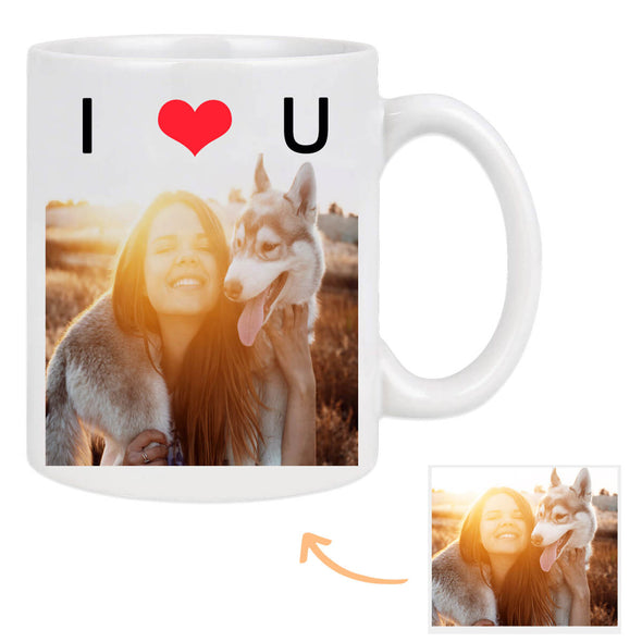 Custom Coffee Mug with Pictures for Lover Personalized I LOVE YOU Photo Mug