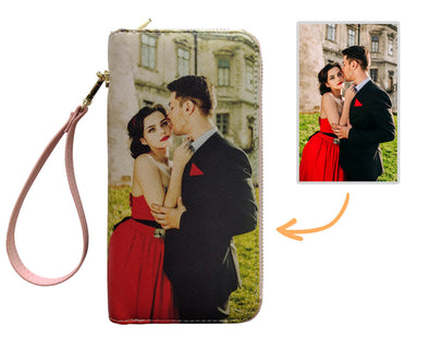 Personalized Photo Wallet for Women Two Zipper Pockets Leather Long Wallet