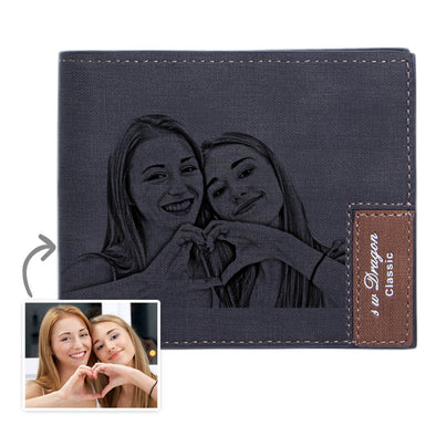Mens Personalized Photo Wallets Bifold Engraved Wallets Leather Gift for Boyfriend