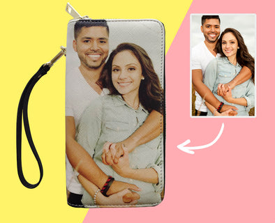 Custom Photo Wallet for Women Two Zipper Pockets Leather Long Wallet