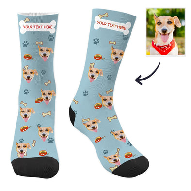 Custom Dog Photo Socks with Text