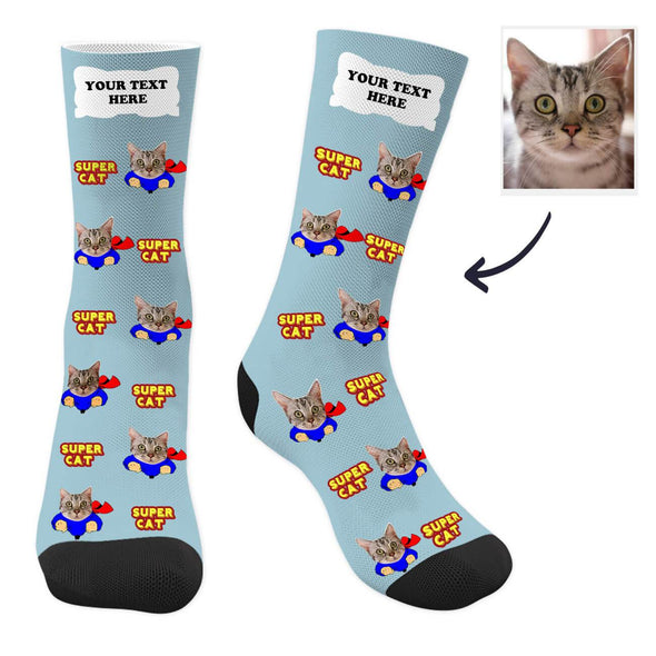 Custom Cat Photo Socks with Your Text