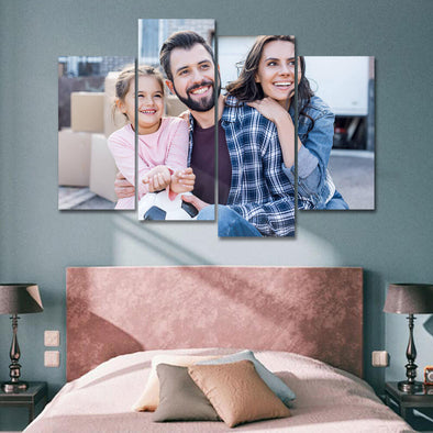 Custom Couple Photo Painting Canvas 4 Pcs  Gift for Mom
