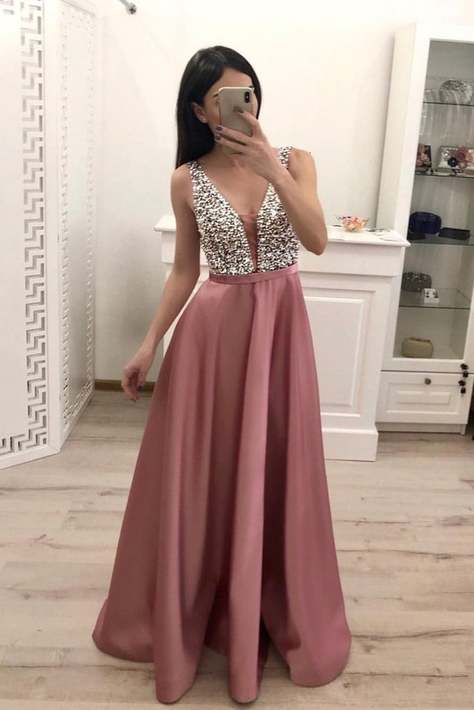 2019 Prom Dress V Neck Satin With Beads And Sequins Floor Length