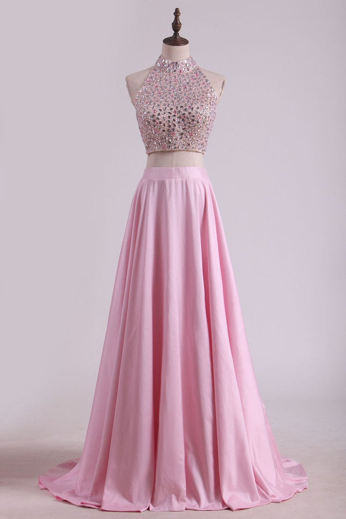 2019 Two-Piece High-Neck Beaded Bodice Taffeta Prom Dresses