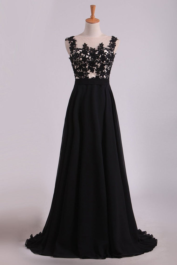 2019 Cap Sleeves Prom Dresses Scoop Floor Length Chiffon With Applique