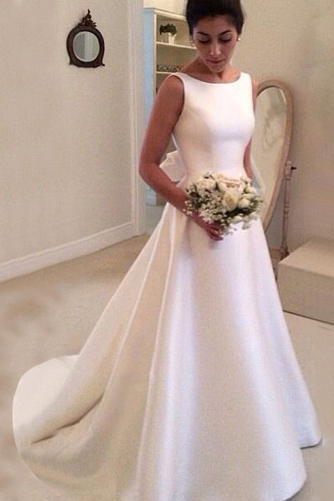 White satin round neck bowknot backless train wedding dress handmade dresses WK283