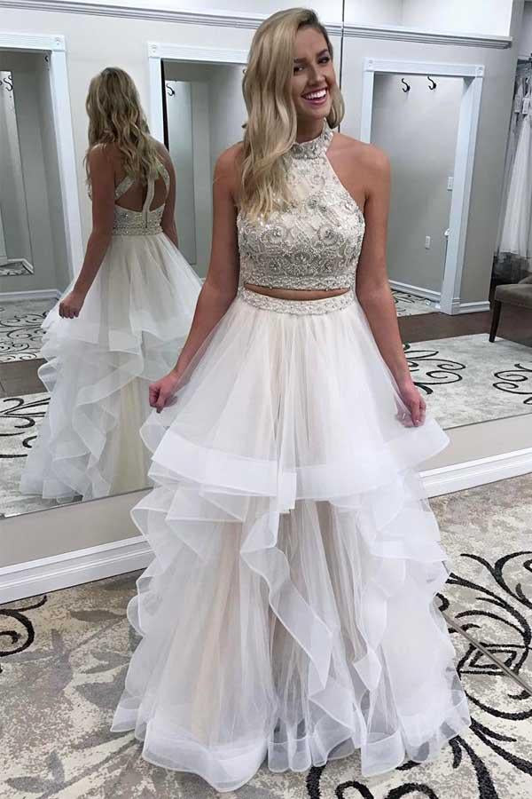 A line Ivory Beads Halter Ruffles Prom Dresses Long Open Back Party Dresses WK693