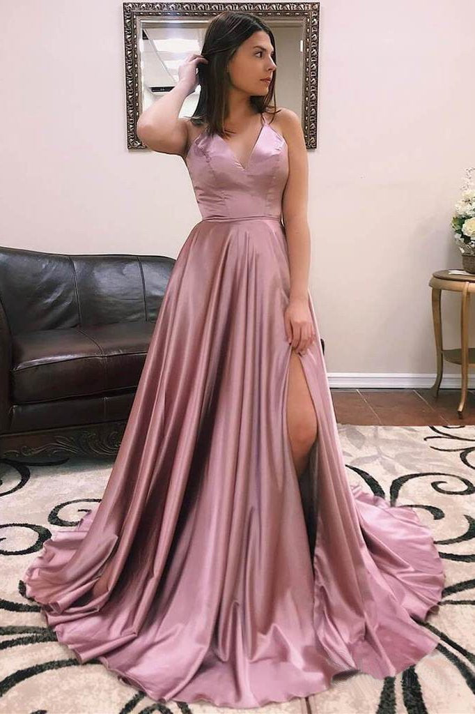 A Line V Neck Satin Lace up Dusty Rose High Slit Prom Dresses Long Evening Dresses WK699