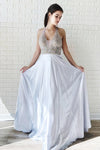 Halter Chiffon Backless Beads A Line Sleeveless Prom Dresses, Evening Dresses PW767