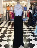 Decent Sheath Black Prom Dress - Jewel Open Back Floor Length Appliques Beading WK642