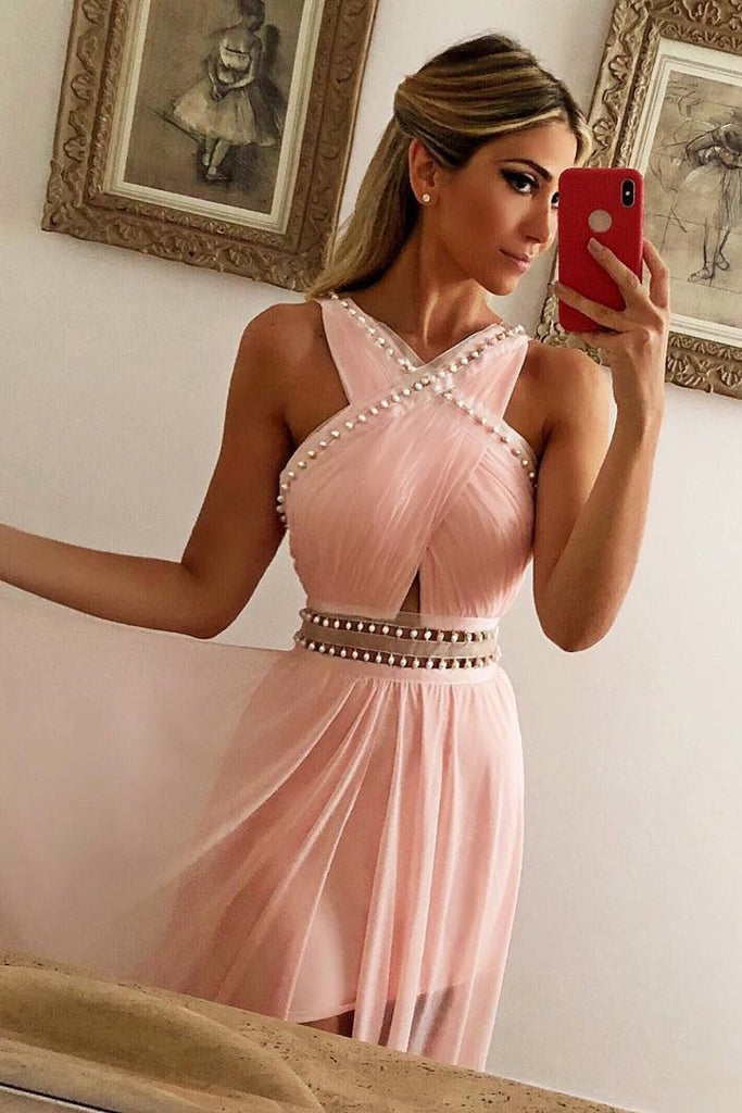 2019 Sheath Chiffon V Neck Prom Dresses With Beads And Slit Court Train