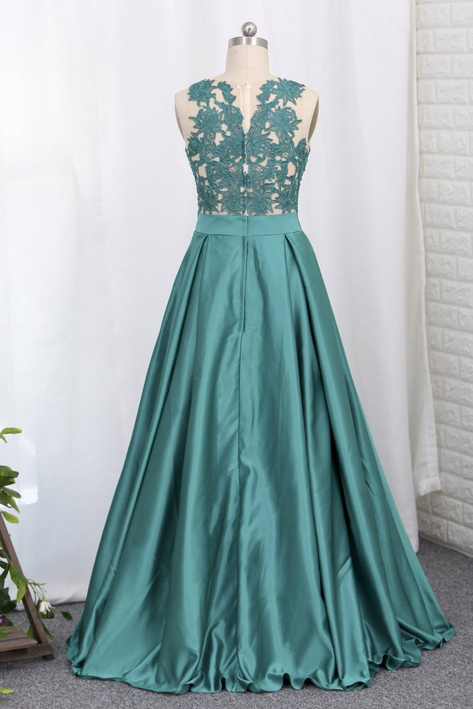 2019 A Line Prom Dresses Satin Scoop With Applique Sweep Train