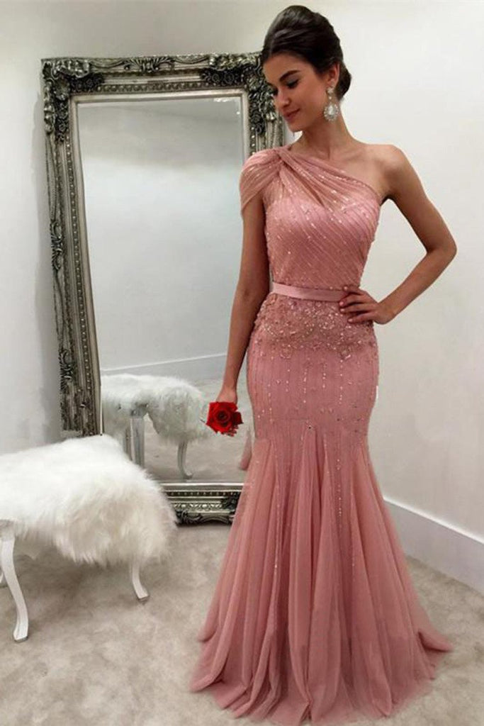 2019 Mermaid One Shoulder Tulle With Beads And Sash Prom Dresses Sweep Train