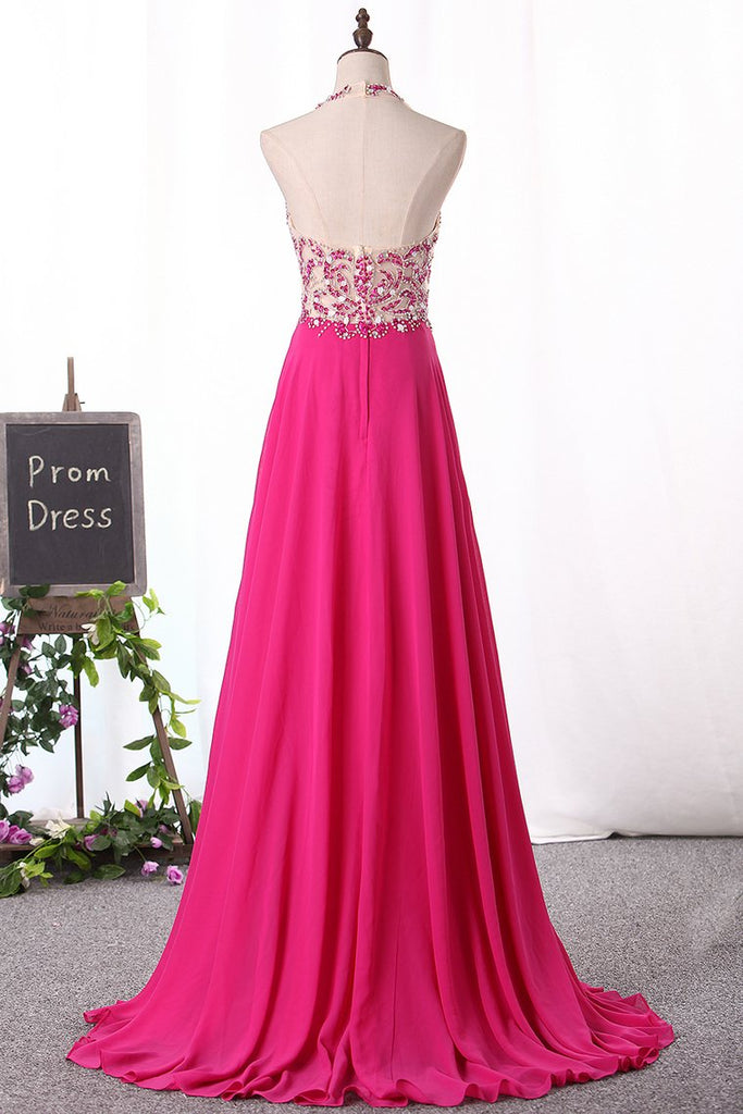 Halter Prom Dresses A Line Chiffon Beaded Bodice Sweep/Brush Train