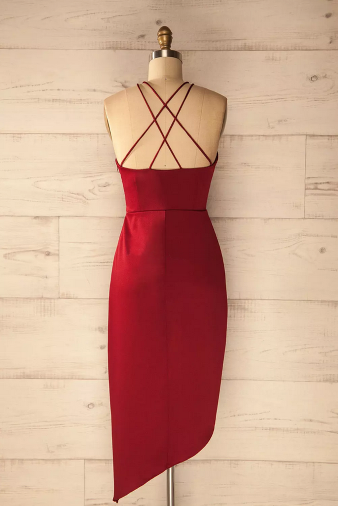 2019 Cocktail Dresses Sheath Spaghetti Straps Spandex Asymmetrical