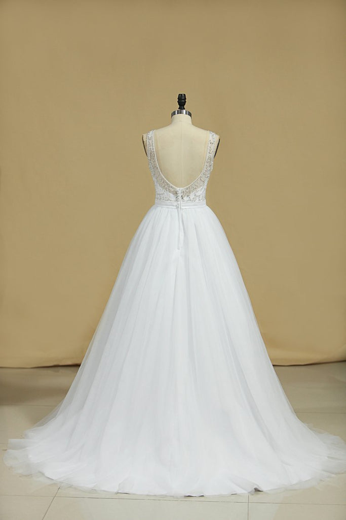 2020 A Line Bateau Open Back Beaded Bodice Tulle Court Train Wedding Dresses