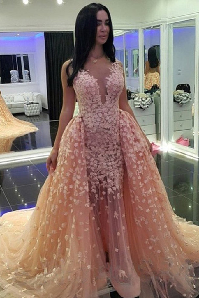 2019 Tulle V Neck With Applique Prom Dresses Mermaid Court Train Detachable