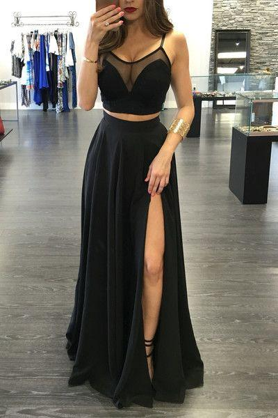2020 Custom Made Black Popular Two Pieces Floor Length Spaghetti Straps Prom Dresses WK764