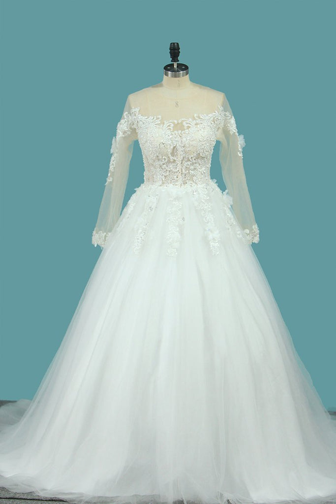 2020 A Line Long Sleeves Tulle Scoop Wedding Dresses With Applique And Beads Sweep Train