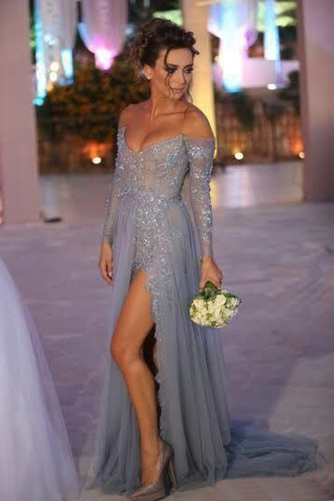 Long Sleeve Evening Dresses V Neck With Slit And Applique Sweep Train