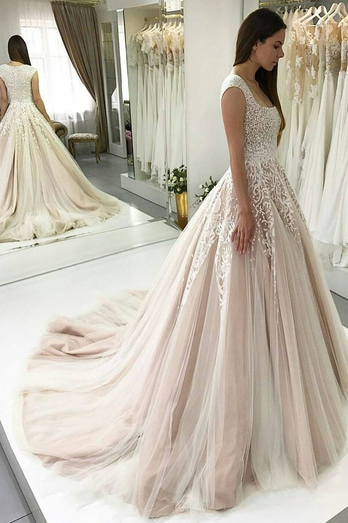 2019 Square Neck Wedding Dress A Line Tulle With Appliques And Beads