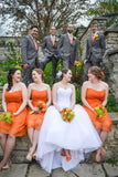 Pretty Short Orange Chiffon Open Back Sweetheart Bridesmaid Dresses