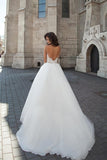 A line Long Sleeve Tulle White Lace Appliques Wedding Dresses Long Wedding Gowns WK561