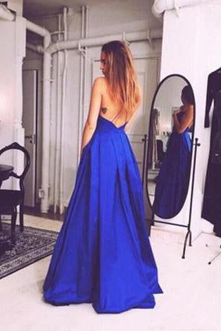 Charming Royal Blue Sexy Sleeveless Evening Dress Sexy Open Back Prom Dresses WK847