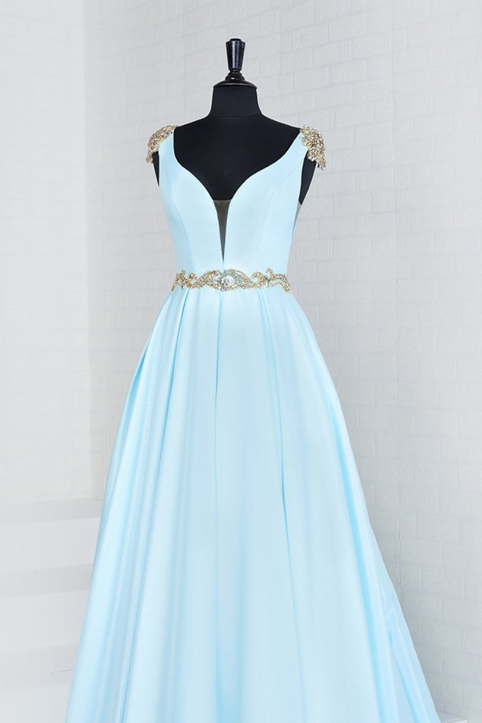 2019 New Arrival A Line V Neck Satin With Beads Prom Dress