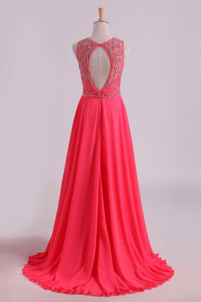 2019 Water Melon Prom Dresses Scoop A Line Beaded Bodice Open Back Chiffon & Tulle Floor-Length