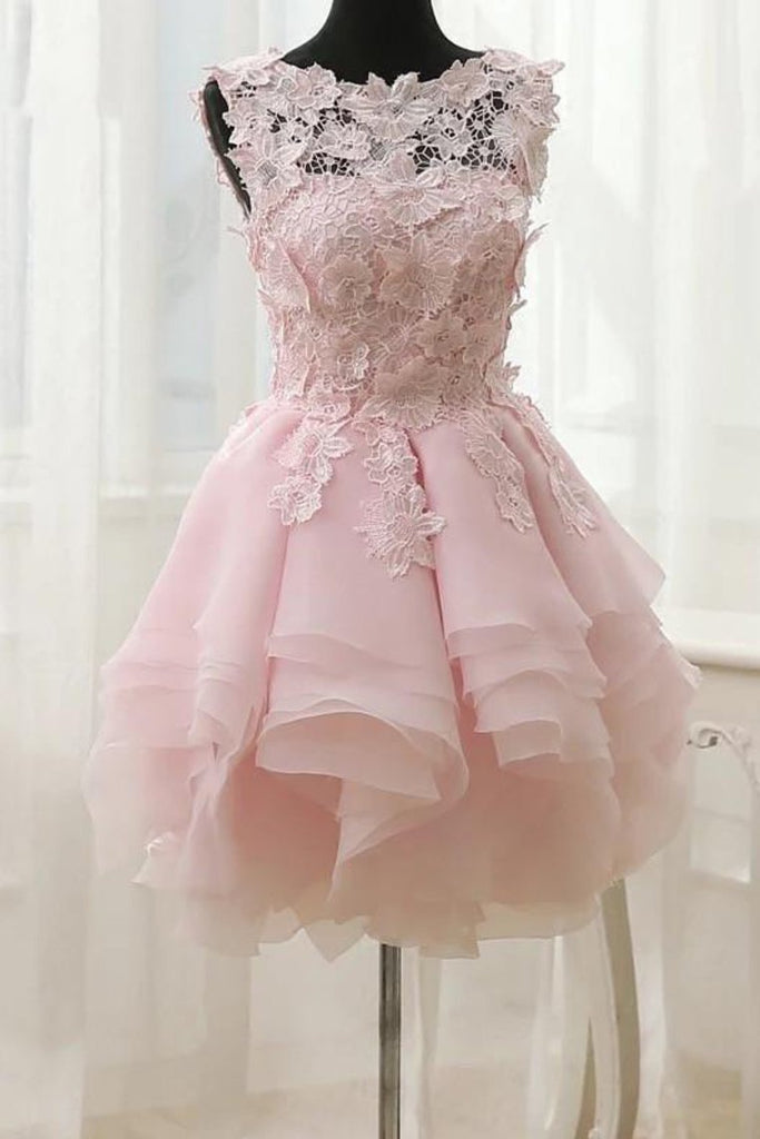 2019 A Line Scoop Organza With Applique Short/Mini Homecoming Dresses
