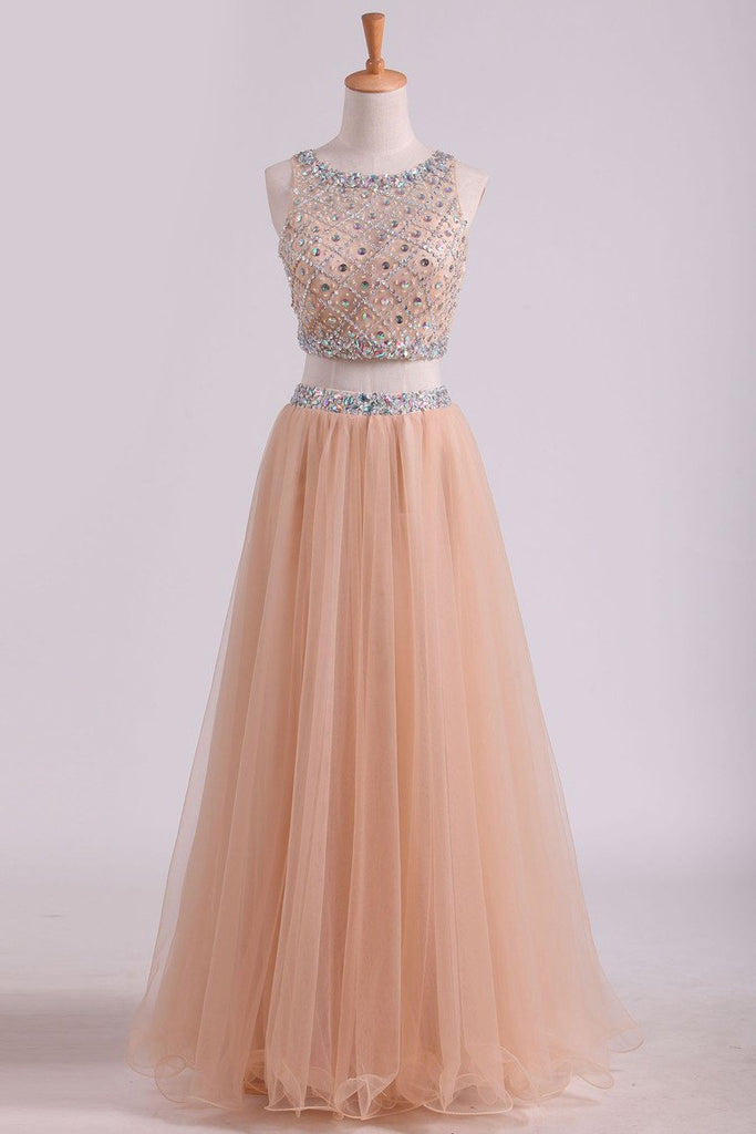 2019 Two Pieces Bateau Beaded Bodice Prom Dress A Line Tulle Floor Length