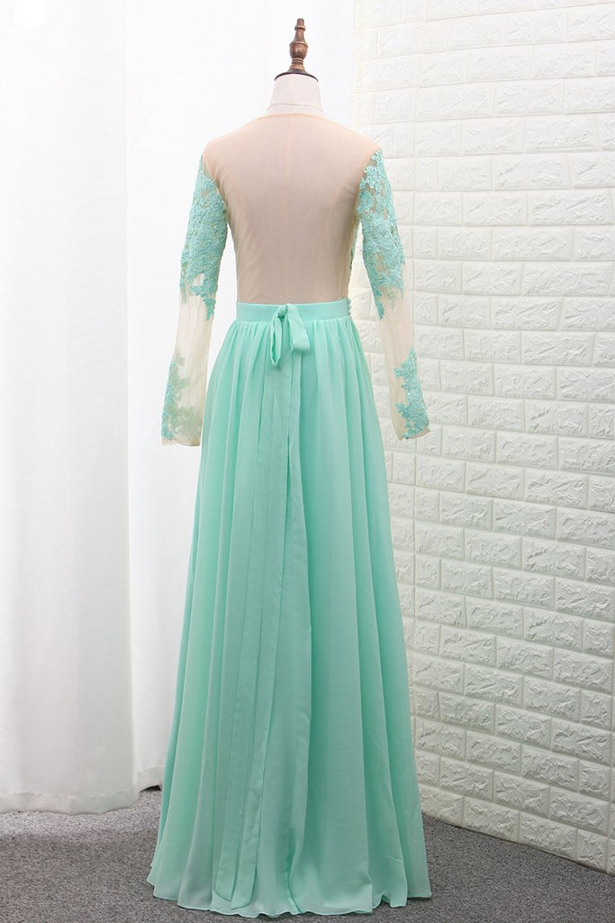 2019 Scoop A Line Chiffon Long Sleeves Prom Dresses With Applique Floor Length