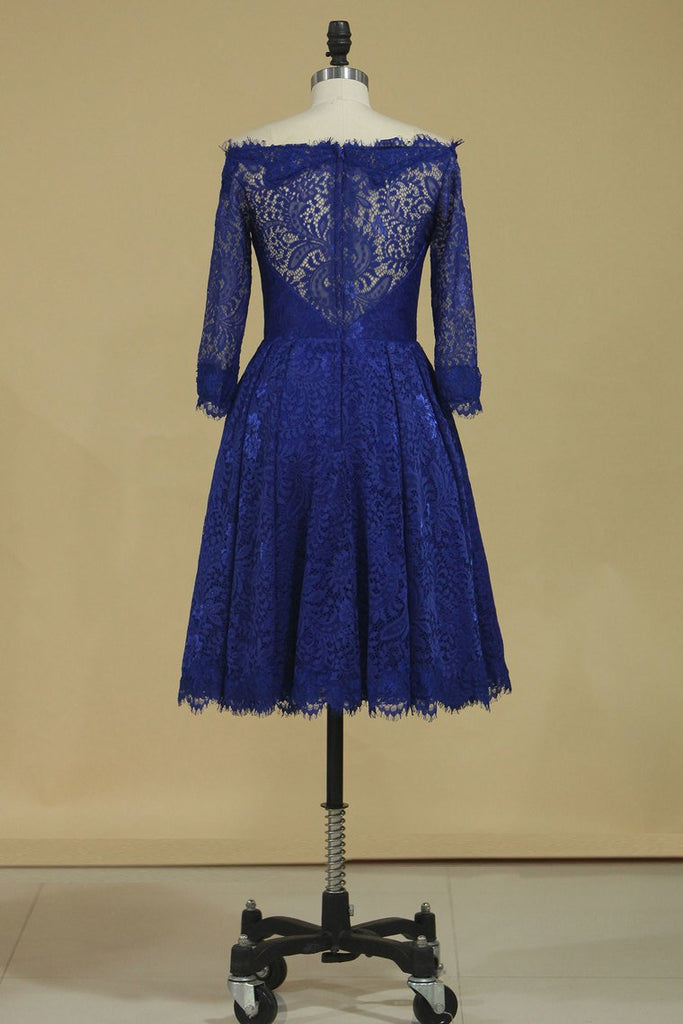 New Arrival Bateau 3/4 Length Sleeves A Line Lace Evening Dresses