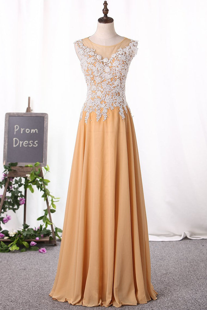 2019 A Line Scoop Prom Dresses Chiffon With Applique Floor Length
