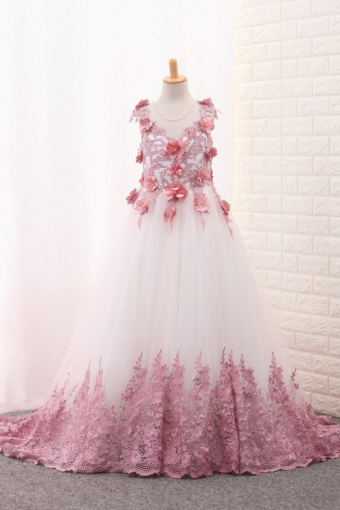 2019 Scoop A Line Tulle Flower Girl Dresses With Applique And Handmade Flowers