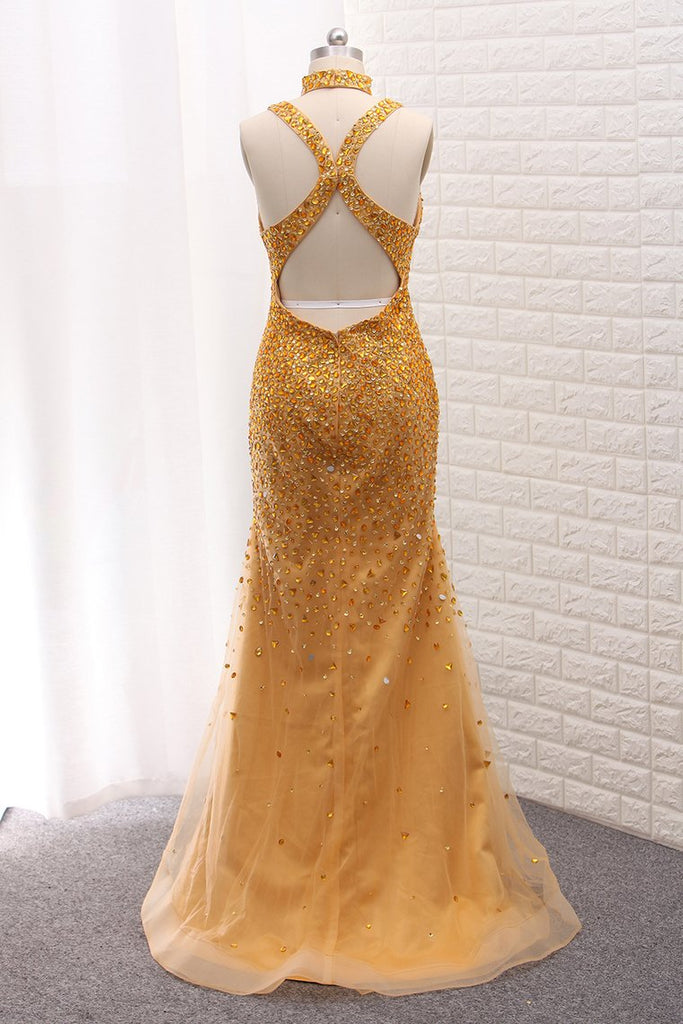 2019 Mermaid Open Back Tulle Straps Prom Dresses With Beading