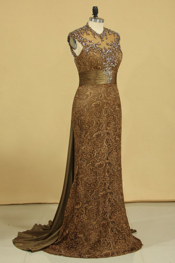 2019 Brown High Neck Evening Dresses Column With Beading Lace Sweep Train