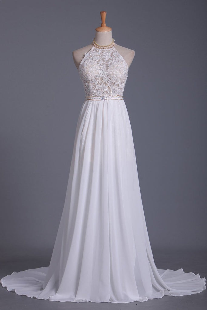 2019 Halter A Line Wedding Dresses Chiffon With Applique