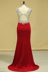 2019 Red V Neck Beaded Bodice Open Back Prom Dresses Column Spandex Sweep Train Plus Size